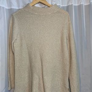 Tan striped funnel necked sweater
